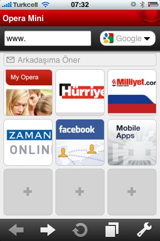 Opera Mini Browser iPhone Screen ElmaDergisi.com