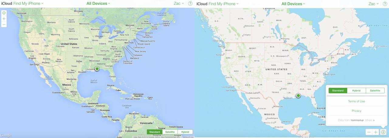 Find My iPhone uygulamasından; Google Harita servisi (Sol), Apple Harita Servisi (Sağ)