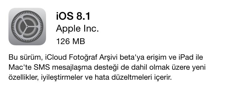 ios 8.1 yazılım güncelleme