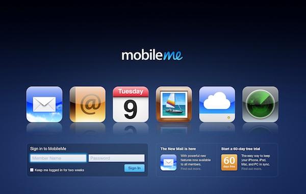 Mobile Me Giriş ekranı