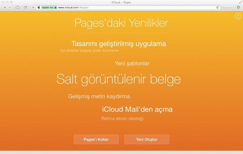 iwork icloud güncelleme