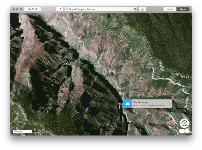Apple Maps - Haritalar - Grand Canyon